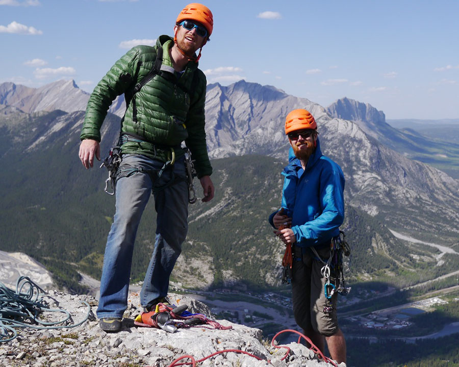 Maarten & Brandon high up above the bow valley.  Copyright Ian Greant