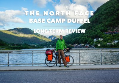 Gear Editor Maarten tests the TNF Base Camp Duffel while bike touring in Norway